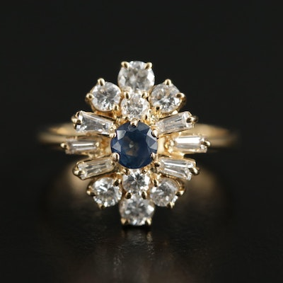 18K Yellow Gold Sapphire and 1.00 CTW Diamond Ring