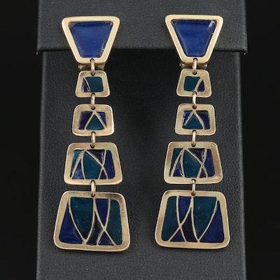 14K Gold Plique-à-jour Enamel Dangle Earrings