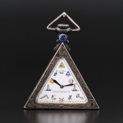 Masonic Silver Triangle Pocket Watch, Circa 1930's