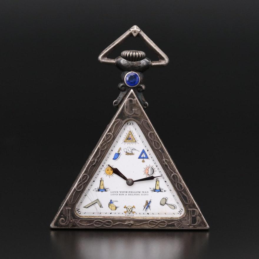 Masonic Silver Triangle Pocket Watch, Circa 1930's