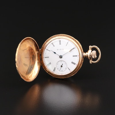 14K Gold Elgin Hunting Case Pocket Watch, 1908