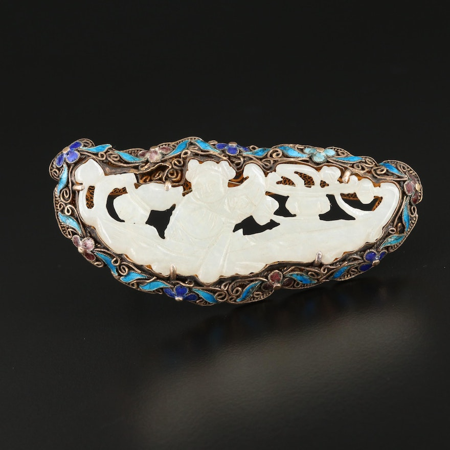 Sterling Silver Carved Chalcedony Brooch With Cloisonné Frame