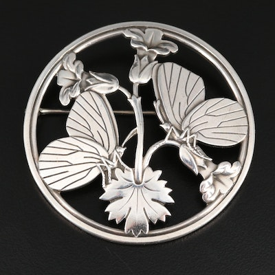 "1940s Arno Malinoski for Georg Jensen Sterling ""Moonlight Blossom"" Brooch"