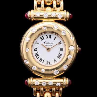 18K Gold Ruby and Diamond Chopard Quartz Wristwatch