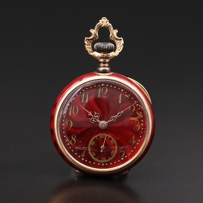 Antique Swiss 14K Gold and Red Enamel Open Face Pocket Watch