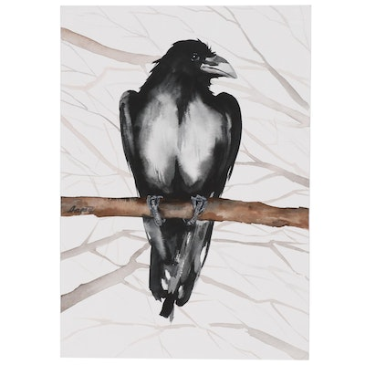 Anne Gorywine Watercolor Painting of Raven