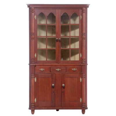 American Late Federal Cherry Corner Cupboard, Circa 1840
