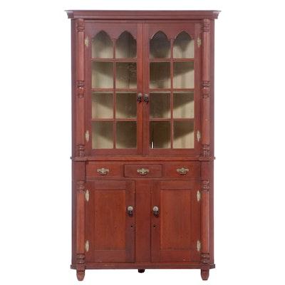 American Late Federal Cherry Corner Cupboard, Circa 1840