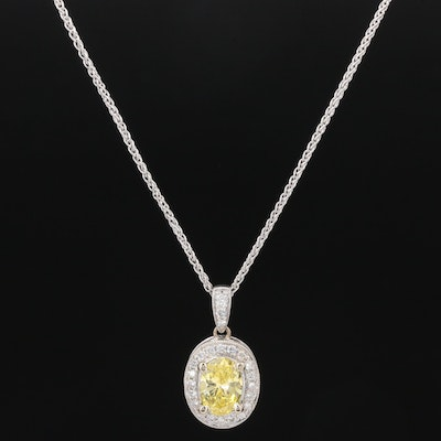 18K and 14K Gold Diamond Necklace with GIA Report