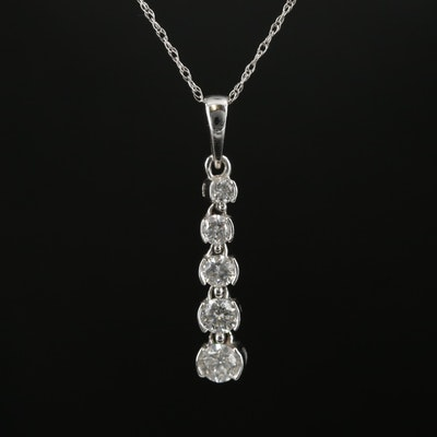 14K and 10K Gold Diamond Drop Pendant Necklace