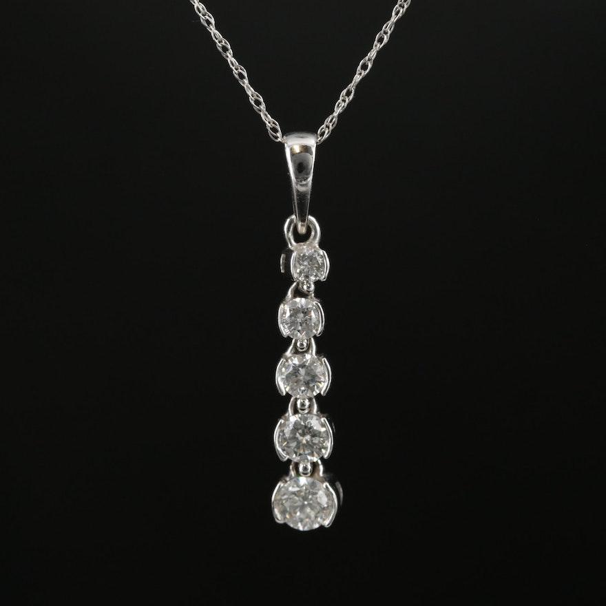 14K and 10K Gold Diamond Drop Pendant Necklace