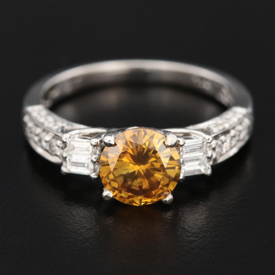 18K 1.22 CT Yellow Diamond and 0.48 CTW Diamond Ring with GIA Report