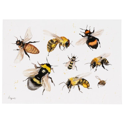 Anne Gorywine Watercolor Painting of Bumblebees