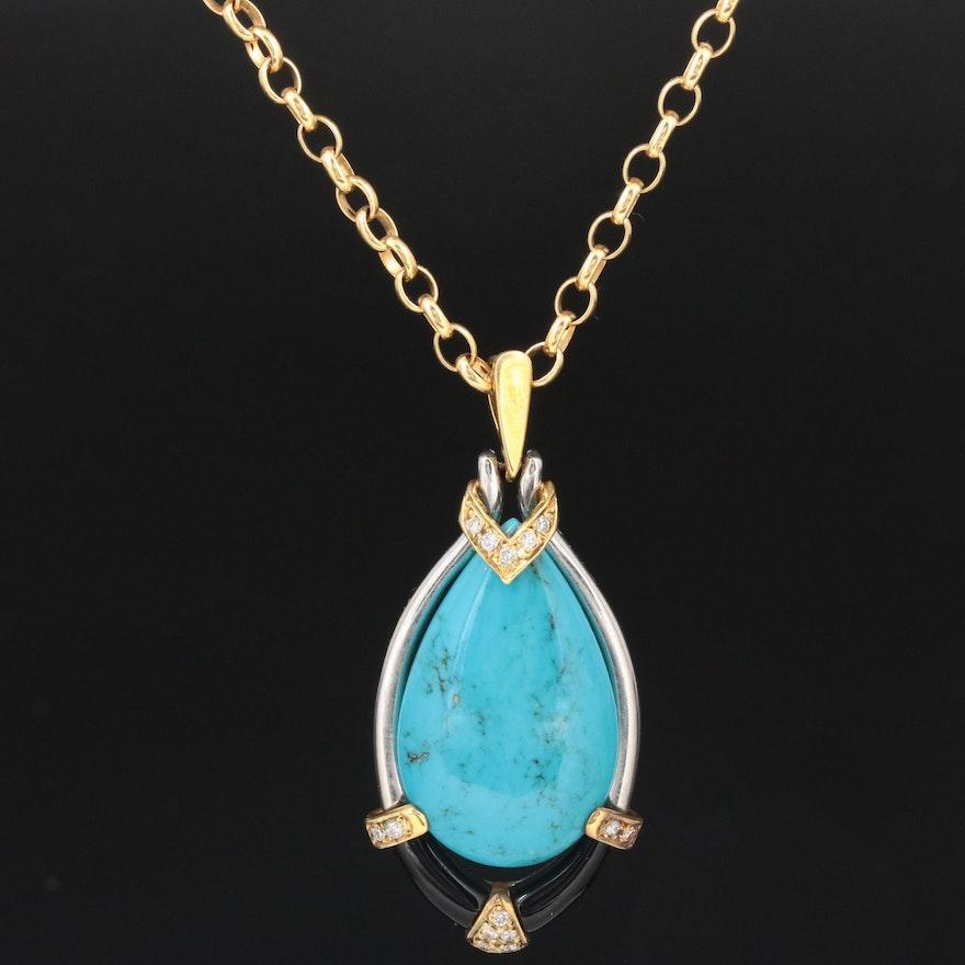 Platinum Turquoise, Black Onyx and Diamond Pendant on 18K Chain