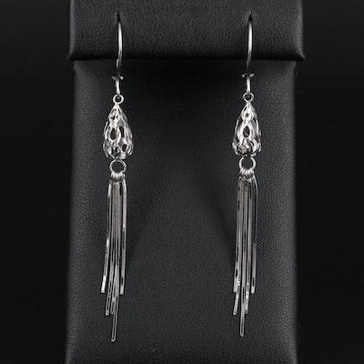 18K White Gold Pierced Dangle Earrings