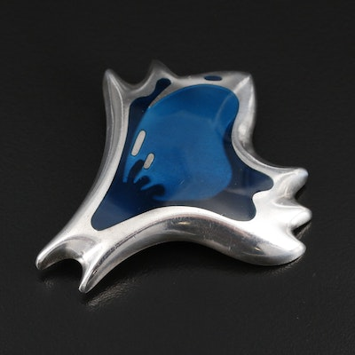 1940's Henning Koppel for Georg Jensen Sterling Silver Enamel Brooch