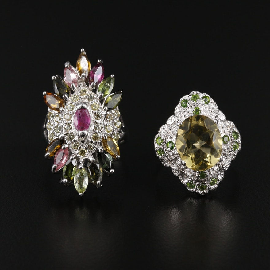 Sterling Silver Citrine, Ruby, and Diopside Rings