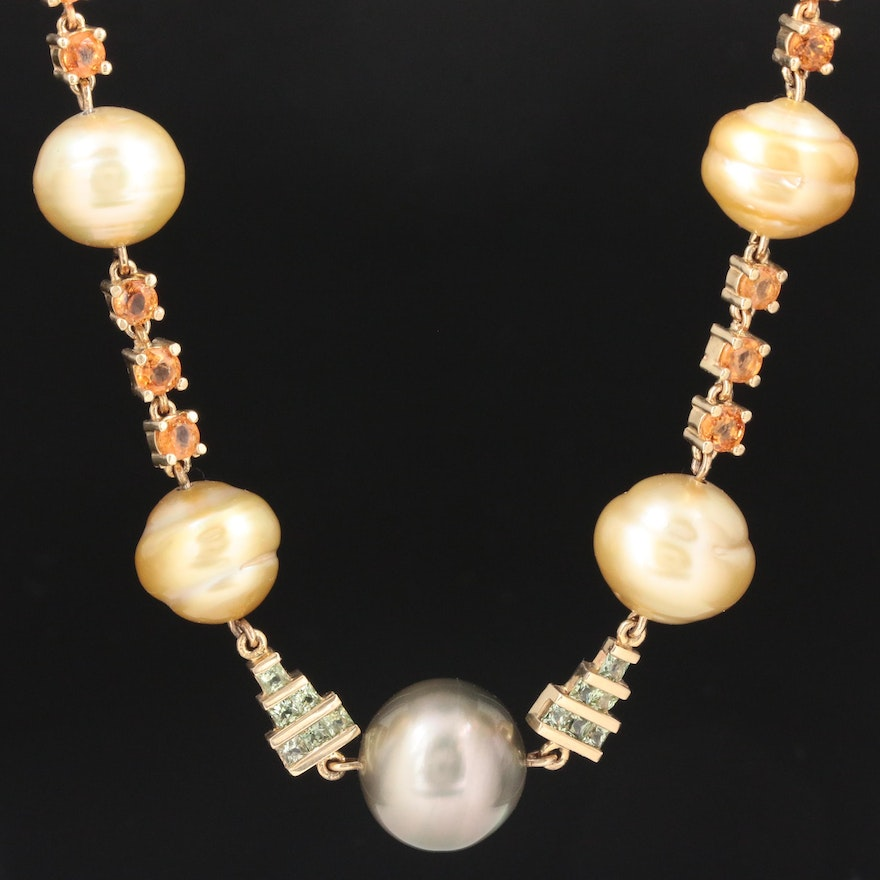14K Yellow Gold Pearl, Sapphire and Spessartine Garnet Necklace