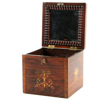 Inlaid Rosewood Box with Mirror, Mid-19th Century