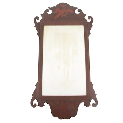 Chippendale Style Inlaid Mahogany Mirror, Late 19th / Early 20th Century
