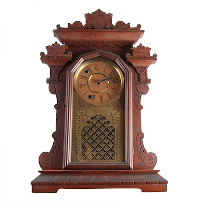 Victorian, Eastlake Style Walnut Shelf Clock, Late 19th Century