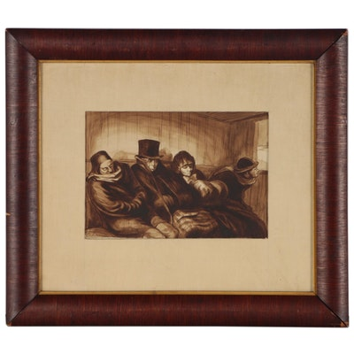 "James McMullan Ink Painting after Honoré Daumier ""Second Class Carriage"""