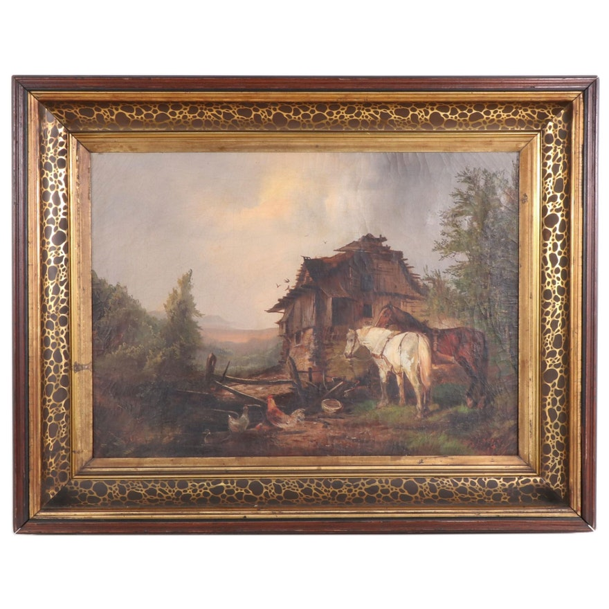 Barnyard Scene with Horses Oil Painting, 19th Century