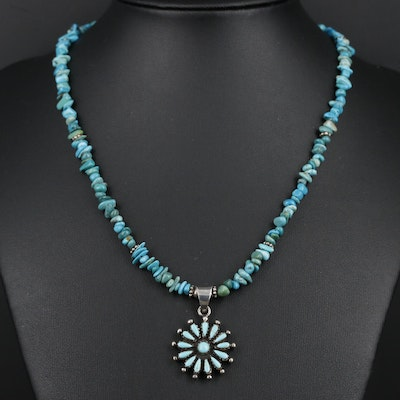 Sterling Silver Turquoise Necklace with Petit Point Pendant