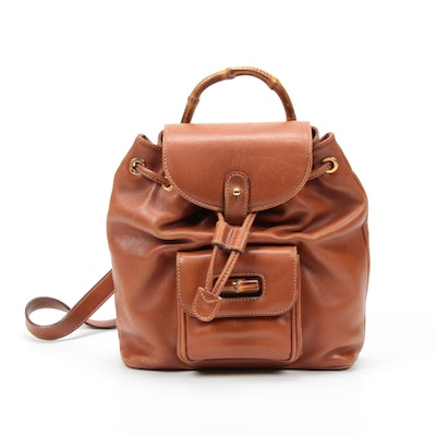 Gucci Bamboo Cognac Leather Mini Backpack