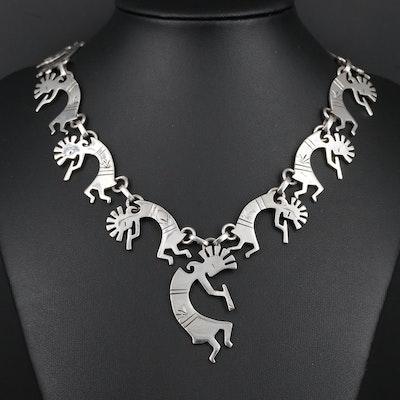 Southwestern Style Sterling Silver Kokopelli Necklace