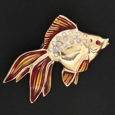 14K Yellow Gold Diamond with Red and Yellow Basse-Taille Enamel Fish Brooch