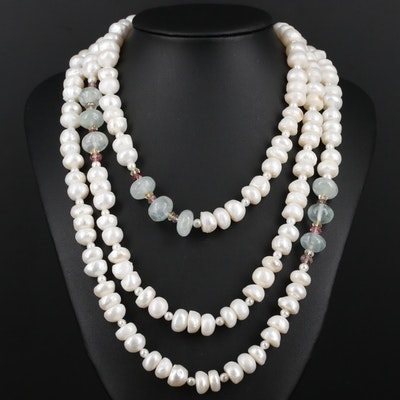 Endless Pearl Necklace Featuring Aquamarine and Tourmaline Accents