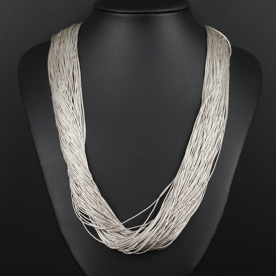 Liquid Sterling Silver 100 Strand Necklace