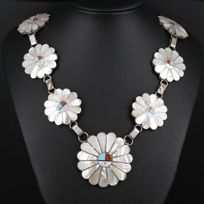 Southwestern Style Sterling Silver Mother of Pearl and Gemstone Sunface Necklace