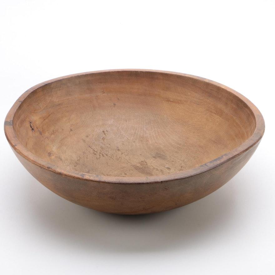Large Turned Wood Dough Bowl
