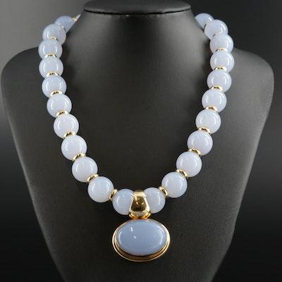 18K Gold Chalcedony Necklace