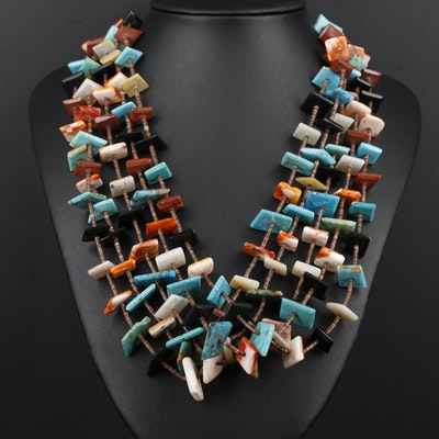 Southwestern Style Turquoise and Gemstone Necklace with Sterling Silver Clasp