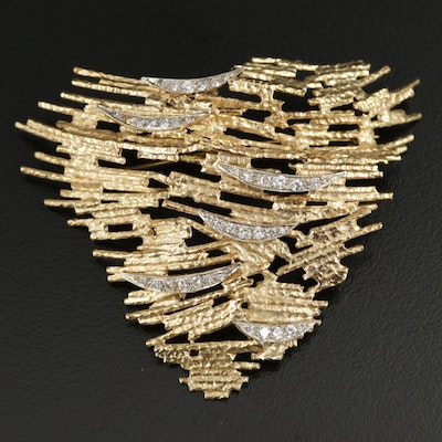Signed 18K Gold Diamond Layered Brooch