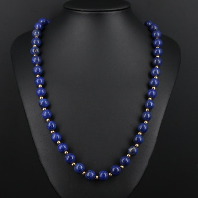 Beaded Lapis Lazuli Necklace with 14K Yellow Gold Findings