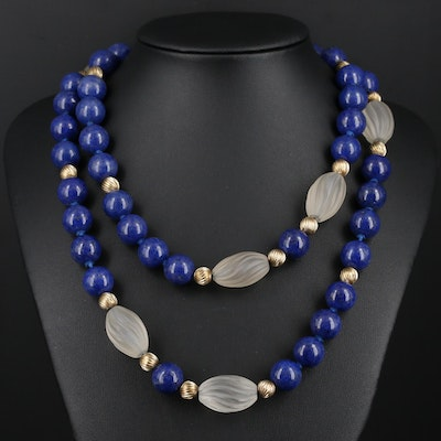 Beaded Lapis Lazuli and Rock Crystal Quartz Necklace