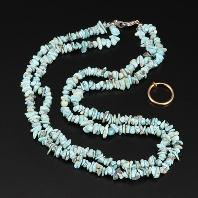 Turquoise Necklace with One Earring