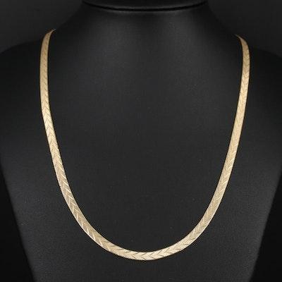 Herringbone Chain Necklace Featuring Diamond Cut Chevron Pattern