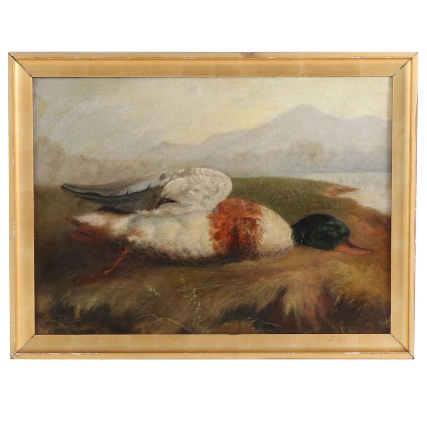 Oil Painting of Water Fowl Game, Late 19th to Early 20th Century