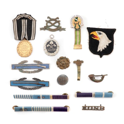 British, German, and American Military Pins, Bars, and Uniform Patch, 20th Ca.