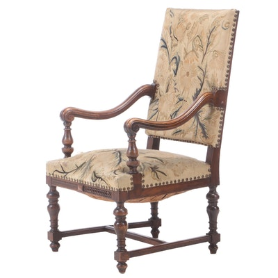 Louis XIV Style Walnut Armchair, Late 19th Century