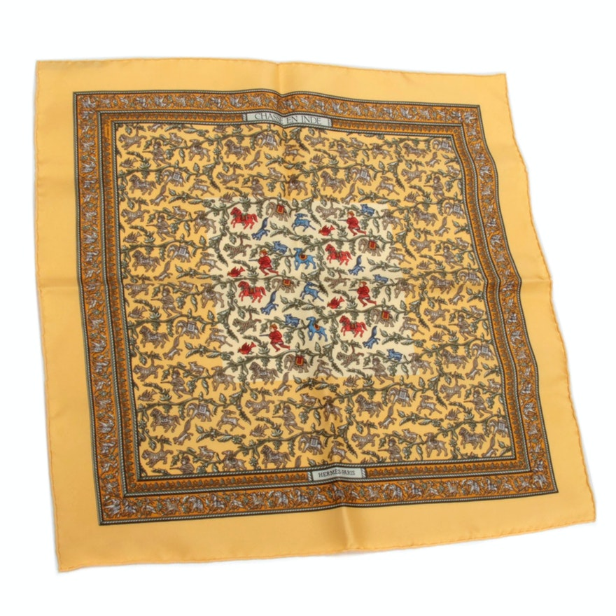 "Hermès Paris ""Chasse en Inde"" Silk Pocket Square Designed by Michael Duchene"
