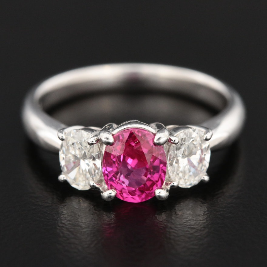 Platinum 1.18 CT Ruby and Diamond Ring with GIA Report
