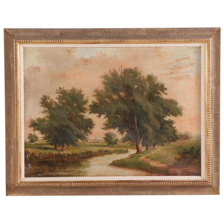 Robert Mallett Creek Landscape with Windmill Oil Painting, Early 20th Century