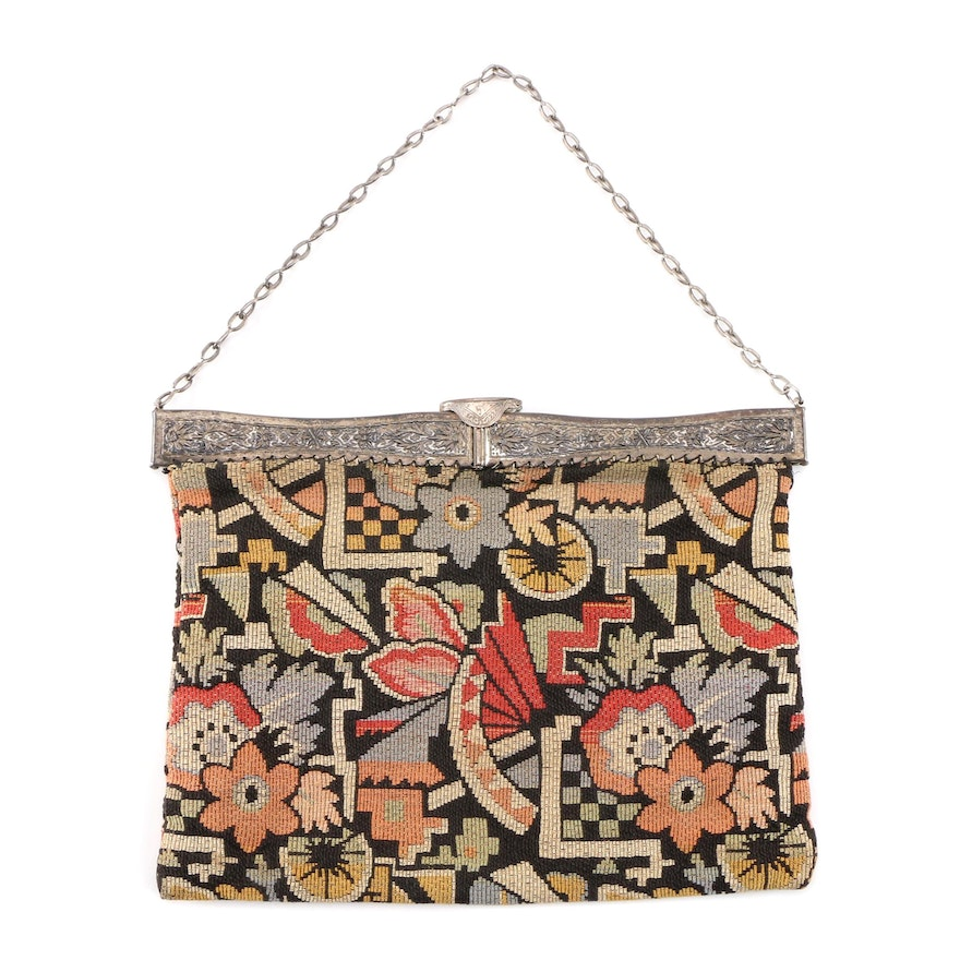 Art Deco Floral Needlework Bag with Square Hinged Chased Metal Frame