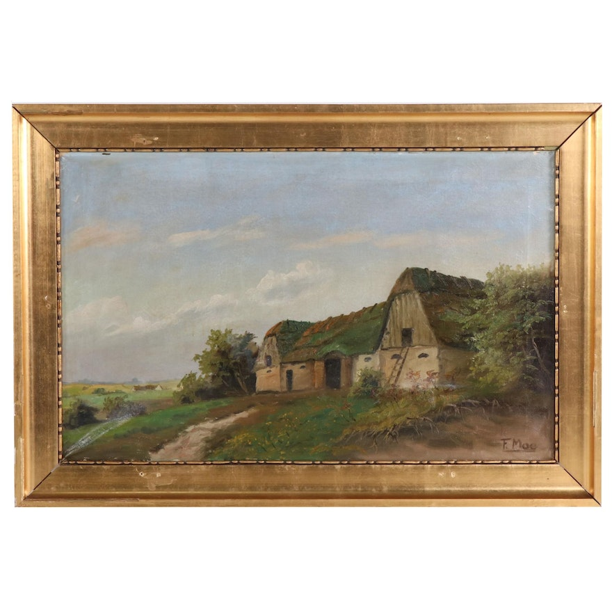 Oil Painting of Rural Landscape with Barn, Early 20th Century